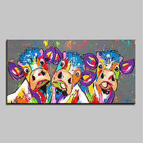 cheap Abstract Paintings-Oil Painting Handmade Hand Painted Wall Art Home Decoration Décor Living Room Bedroom Animal Cattle Ox Cow Stretched Ready To Hang With Stretched Frame