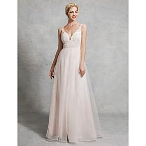 preiswerte elegant wedding dress0420-A-Linie V-Ausschnitt Boden-Länge Spitze / Satin / Tüll Maßgeschneiderte Brautkleider mit Perlenstickerei durch LAN TING BRIDE®