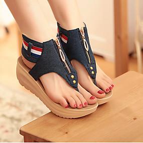 preiswerte Sapatos-Damen Sandalen Keilabsätze Keilabsatz Schuhkappe Denim Jeans Komfort / Neuheit Sommer Hellblau / Blau / EU42