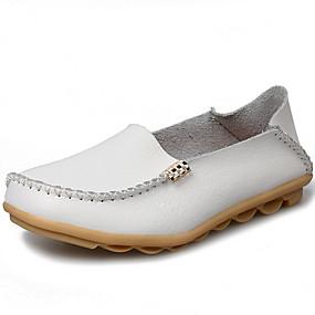 preiswerte Bequeme Halbschuhe-Damen Loafers & Slip-Ons Flacher Absatz Leder Komfort / Mokassin Herbst Winter Schwarz / Weiß / Orange / Party & Festivität