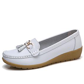 preiswerte Bequeme Halbschuhe-Damen Flache Schuhe Keilabsatz Leder Komfort / Mokassin Frühling Sommer Schwarz / Weiß / Orange / Party & Festivität