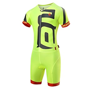 cheap Under €49-Malciklo Men's Triathlon Tri Suit - White / Black / Green / Yellow Bike Clothing Suit Quick Dry Anatomic Design Ultraviolet Resistant Reflective Strips Sports Spandex Solid Color Triathlon Clothing