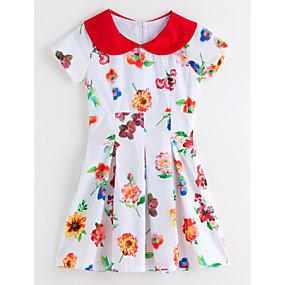 billige 11-11 supersalg-Baby Jente Blomster Blomstret Kortermet Kjole Hvit