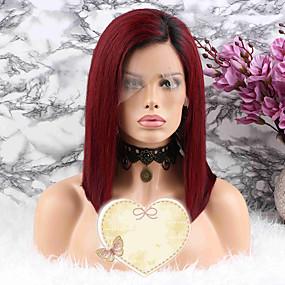 ราคาถูก Lace Wigs with Baby Hair-ผม Remy มีลูกไม้ด้านหน้า วิก บ๊อบตัดผม สั้นบ๊อบ สไตล์ ผมบราซิล Straight แดง วิก 130% Hair Density ผมเด็ก การระบายสี สำหรับผู้หญิง Short ขนาดกลาง วิกผมแท้ Luckysnow