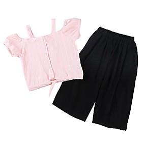preiswerte Weihnachten-Kinder Mädchen Grundlegend Solide Gestreift Kurzarm Baumwolle Kleidungs Set Weiß