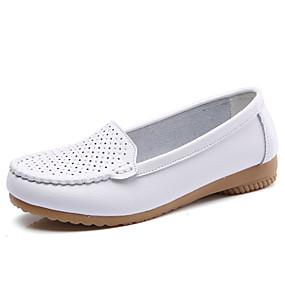 preiswerte Bequeme Halbschuhe-Damen Loafers & Slip-Ons Keilabsatz Leder Komfort / Mokassin Herbst Winter Schwarz / Weiß / Blau / Party & Festivität