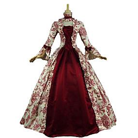 preiswerte Renovierung-Marie Antoinette Rokoko Viktorianisch Mittelalterlich Renaissance 18. Jahrhundert Kleid Ballkleid Damen Kostüm Rot / Olive Vintage Cosplay Party Abiball 3/4 Ärmel Boden-Länge Normallänge Ballkleid