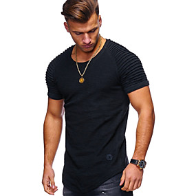 cheap Athleisure Wear-Men's T shirt Shirt Graphic Solid Colored Short Sleeve Daily Tops Cotton Basic Round Neck White Army Green Black