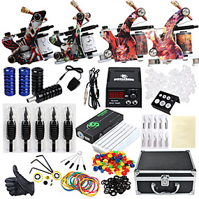cheap Professional Tattoo Kits-Solong Tattoo / DRAGONHAWK Professional Tattoo Kit Tattoo Machine - 4 pcs Tattoo Machines, Professional Level / All in One / Easy to Setup Alloy LCD power supply 4 alloy machine liner & shader