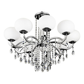 cheap Ceiling Lights & Fans-Lightinthebox 9-Light 90 cm Crystal Chandelier Metal Glass Candle-style Electroplated Modern Contemporary 110-120V / 220-240V
