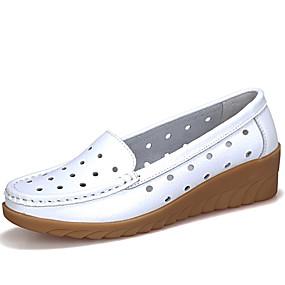 preiswerte Bequeme Halbschuhe-Damen Loafers & Slip-Ons Keilabsatz Leder Komfort / Mokassin Frühling Sommer Schwarz / Weiß / Orange / Party & Festivität