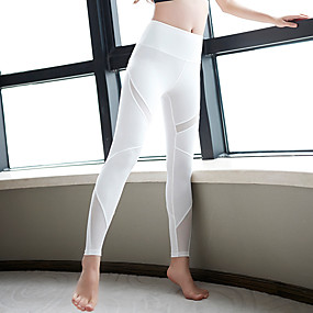 cheap Yoga & Fitness-Women's High Waist Yoga Pants Leggings Breathable Quick Dry White Black Mesh Spandex Zumba Gym Workout Running Sports Activewear High Elasticity Skinny