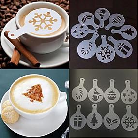 voordelige Koffie en Thee-8st kerst koffie stencil schimmel cappuccino chocolade cake spuit