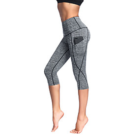 cheap Yoga & Fitness-Women's High Waist Yoga Pants Side Pockets Capri Leggings 4 Way Stretch Breathable Anatomic Design Stripes Black Grey Rough Black Spandex Non See-through Zumba Fitness Running Plus Size Sports