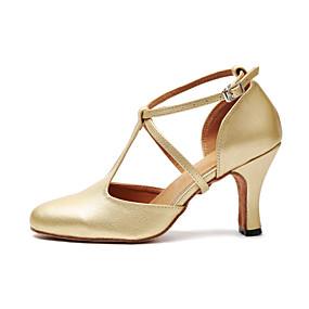 cheap Dance Shoes Classic Collection-Women's Dance Shoes PU Modern Shoes Buckle Heel Cuban Heel Gold / Black / Practice
