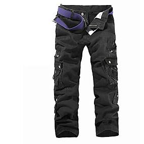 preiswerte Herrenhosen & -shorts-Herrn Grundlegend Alltag Sport Chinos / Frachthosen Hose - Solide Schwarz Armeegrün Grün 28 29 30