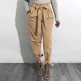 preiswerte Fashion & Clothing-Damen Street Schick Festtage Lässig / Alltäglich Frachthosen Hose - Solide Schleife / Gerüscht Gelb Armeegrün Khaki L XL XXL
