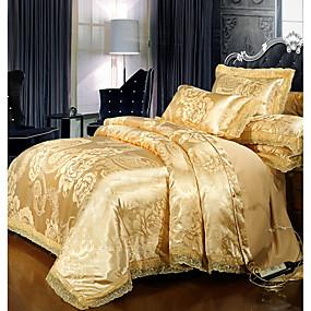 abordables Conjuntos de ropa de cama-Sets Funda Nórdica Lujo Poliéster Impreso y Jacquard 4 PiezasBedding Sets / 300 / 4 Unidades (1 Cobertor de Edredón, 1 Sábana, 2 Fundas de Almohadas)