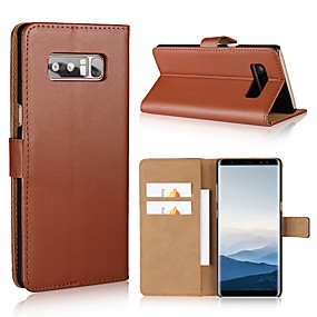 cheap Phones & Accessories-Case For Samsung Galaxy Note 8 / Note 5 / Note 4 Wallet / Card Holder / Flip Full Body Cases Solid Colored Hard PU Leather