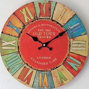 cheap Rustic Wall Clocks-European Plastic & Metal Round Indoor AA Batteries Powered Decoration Wall Clock Wood No