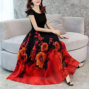 cheap Red Dresses-Women's Floral Plus Size Casual Going out Long Loose Chiffon Swing Dress - Floral Print Green Red Purple XXXL XXXXL XXXXXL