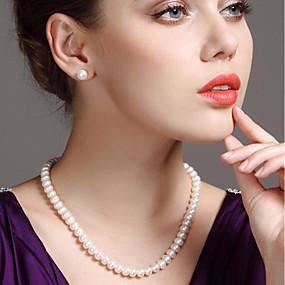 preiswerte Top Jewelry & Watch-Damen Weiß Süßwasserperle Perlenkette damas Einfach Modisch Elegant Sterling Silber Edelstahl Süßwasserperle Weiß 45 cm Modische Halsketten Schmuck 1pc Für Party Geschenk Cosplay Kostüme