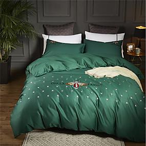 preiswerte Textilien für Zuhause-Bettbezug-Sets Böhmische / Zeitgenössisch 100% Baumwolle / 100% Ägyptische Baumwolle Stickerei 4 StückBedding Sets / 400 / 4-teilig (1 Bettbezug, 1 Bettlaken, 2 Kissenbezüge)