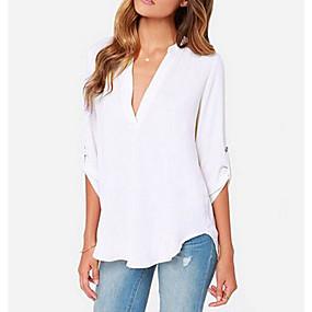 preiswerte Damenbekleidung-Damen Solide Bluse, Tiefes V Grau