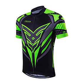 cheap Cycling & Motorcycling-21Grams Men's Short Sleeve Cycling Jersey Summer Coolmax® Green / Black Red Yellow Bike Jersey Top Mountain Bike MTB Road Bike Cycling Quick Dry Breathable Back Pocket Sports Clothing Apparel
