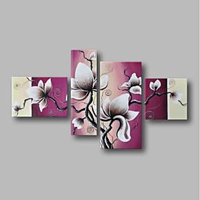 povoljno Slike za cvjetnim/biljnim motivima-Hang oslikana uljanim bojama Ručno oslikana - Sažetak Pejzaž Comtemporary Uključi Unutarnji okvir / Četiri plohe / Prošireni platno