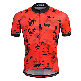 cheap Cycling & Motorcycling-21Grams Men's Short Sleeve Cycling Jersey - Red Stripes Bike Shirt Sweatshirt Jersey Breathable Quick Dry Reflective Strips Sports 100% Polyester Mountain Bike MTB Road Bike Cycling Clothing Apparel