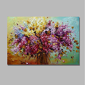 povoljno Slike za cvjetnim/biljnim motivima-ulje na platnu ručno oslikano apstraktno cvjetno / botaničko suvremeno moderno razvučeno platno s razvučenim okvirom