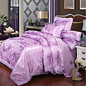 preiswerte Textilien für Zuhause-Bettbezug-Sets Luxus Polyester Bedruckt & Jacquard 4 StückBedding Sets / 300 / 4-teilig (1 Bettbezug, 1 Bettlaken, 2 Kissenbezüge)