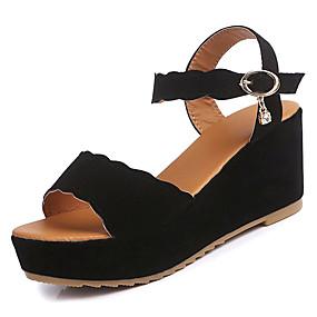 preiswerte Sandalen mit Keilabsatz-Damen Sandalen Keilabsatz Wildleder Knöchelriemen Frühling Sommer Weiß / Schwarz / Grün