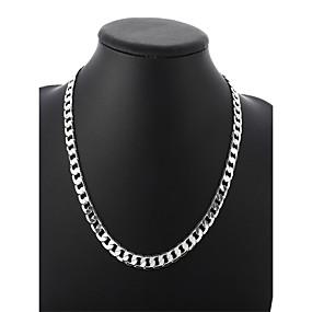 preiswerte Schmuck für Herren-Herrn Ketten Kubanischer Link Gedreht Box-Kette Einfach Grundlegend Modisch Kupfer versilbert Silber 50 cm Modische Halsketten Schmuck 1pc Für Alltag Strasse