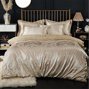 preiswerte Schonbezüge-Bettbezug-Sets Luxus 100% Baumwolle / Seide / Baumwolle / Baumwolle Jacquard Bedruckt & Jacquard 4 StückBedding Sets / 300 / 4-teilig (1 Bettbezug, 1 Bettlaken, 2 Kissenbezüge)