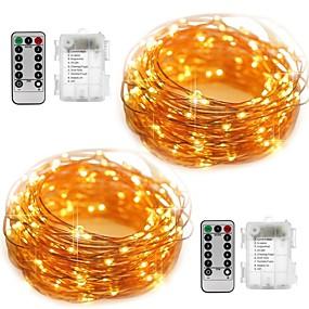 povoljno Setovi svjetlosnih nizova-10m Žice sa svjetlima 100 LED diode SMD 0603 2pcs Toplo bijelo Bijela Vodootporno Party Ukrasno Baterije su pogonjene