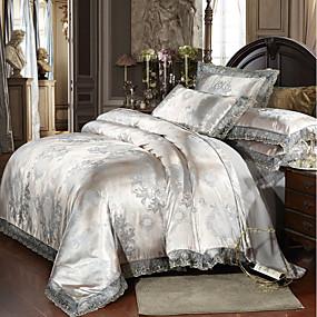 preiswerte Streu-Bettbezug-Sets Luxus Polyester Bedruckt & Jacquard 4 StückBedding Sets / 300 / 4-teilig (1 Bettbezug, 1 Bettlaken, 2 Kissenbezüge)