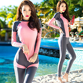 cheap Surfing, Swimming & Diving-Women's Rash Guard Dive Skin Suit Nylon Diving Suit UV Sun Protection Quick Dry Full Body 3-Piece - Swimming Diving Surfing Snorkeling Spring &  Fall Summer