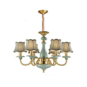 povoljno Lámpatestek-QIHengZhaoMing 6-Light Lusteri Ambient Light Brass Metal Fabric svijeća Style 110-120V / 220-240V Meleg fehér Bulb Included