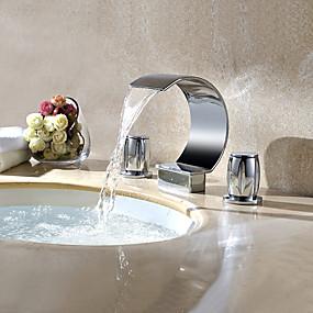 preiswerte Discount-Hähne-Waschbecken Wasserhahn - Wasserfall Chrom 3-Loch-Armatur Zwei Griffe Drei LöcherBath Taps / Messing