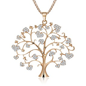 cheap Graduation-Women's Statement Necklace Rope Tree of Life life Tree Ladies Stylish Dangling Sweet Lolita Rhinestone Alloy Gold Silver Rose Gold 75 cm Necklace Jewelry 1pc For Wedding Masquerade Engagement Party