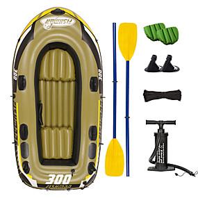 preiswerte Kanufahren-JiLong 3-4 Personen Aufblasbares Boot-Set mit Hand-Luftpumpe Campingmatte French Oars PVC Tragbare Faltung Angeln Bootfahren 252*125*40 cm