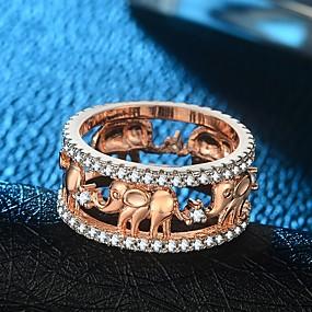 ราคาถูก แหวนวินเทจ-สำหรับผู้หญิง วงแหวน แหวน แหวน Eternity 1pc สีทอง Rose Gold ทองชุบ 18K ทองแดง เคลือบทองคำสีกุหลาบ สุภาพสตรี วินเทจ อติพจน์ งานแต่งงาน เทศกาลคานาวาล เครื่องประดับ สไตล์ ช้าง เท่ห์ / เลียนแบบเพชร