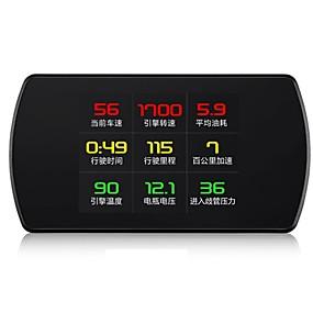 preiswerte Frontscheiben-Anzeigen-P12 3 Zoll LCD Mit Kabel Kopf hoch Anzeige Nachtsicht / Multifunktionsdisplay / Alarm bei hoher Temperatur für Auto Fahrgeschwindigkeit messen / Fahrgeschwindigkeit / Anzeige KM / h MPH