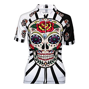 cheap Cycling & Motorcycling-21Grams Women's Cycling Jersey Summer Spandex Polyester Red / White Purple Red Sugar Skull Plus Size Bike Jersey Anatomic Design Quick Dry Moisture Wicking Breathable Back Pocket Sports Patterned