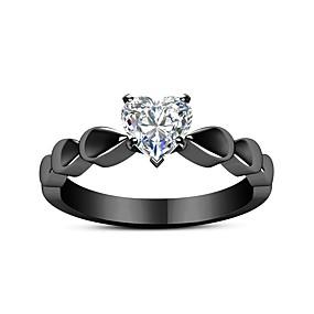 olcso eljegyzés-Páros Páros gyűrűk Eljegyzési gyűrű hüvelykujj gyűrű Kristály 1db Fekete Ötvözet Kör hölgyek Édes Divat Eljegyzés Ajándék Ékszerek Régies stílus Édes szívem Heart Szeretetreméltő