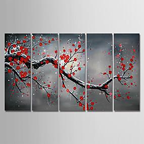 povoljno Slike za cvjetnim/biljnim motivima-Hang oslikana uljanim bojama Ručno oslikana - Mrtva priroda Cvjetni / Botanički Moderna Uključi Unutarnji okvir / Pet ploha / Prošireni platno