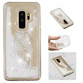 povoljno Maske za mobitele-Θήκη Za Samsung Galaxy S9 / S9 Plus / S8 Plus S tekućinom / Uzorak / Šljokice Stražnja maska Perje / Šljokice Mekano TPU
