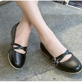 voordelige Damesschoenen met platte hak-Dames Platte schoenen Platte hak Ronde Teen PU Comfortabel / Mary Hane Lente zomer Rood / Blauw / Roze